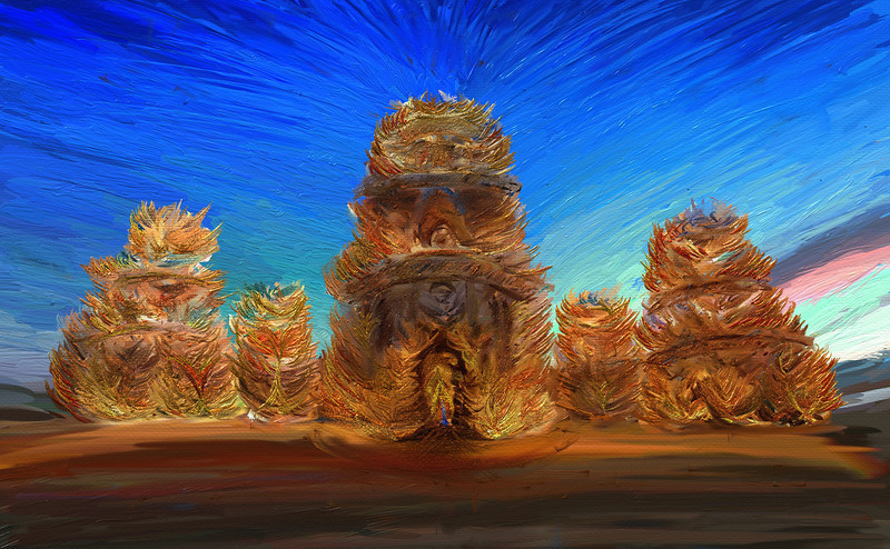 """The Temple Burn I had a photo of the """"before"""" that I took of the temple at Burning Man.  I used that as a reference and then started to paint it as it was ensnared in flame… At the bottom is a video from a hangout while I was working on it…- Trey RatcliffClick here to read the rest of this post at the Stuck in Customs blog."""