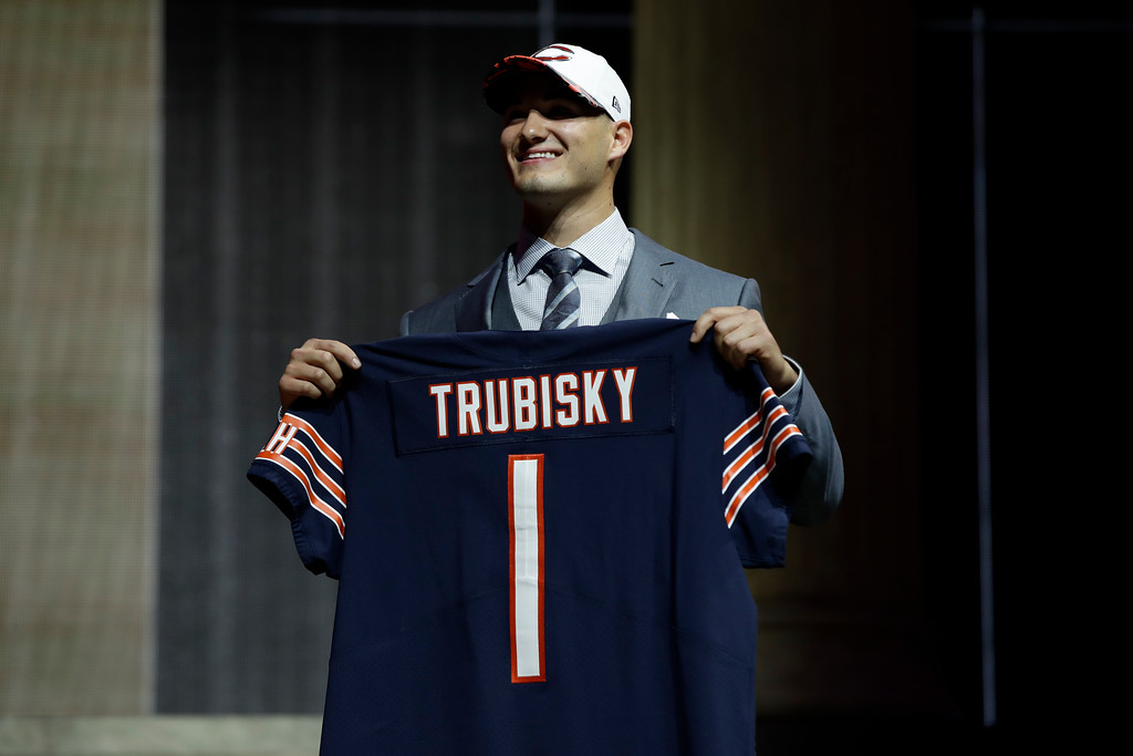 . North Carolina\'s Mitch Trubisky poses after being selected by the Chicago Bears during the first round of the 2017 NFL football draft, Thursday, April 27, 2017, in Philadelphia. (AP Photo/Matt Rourke)
