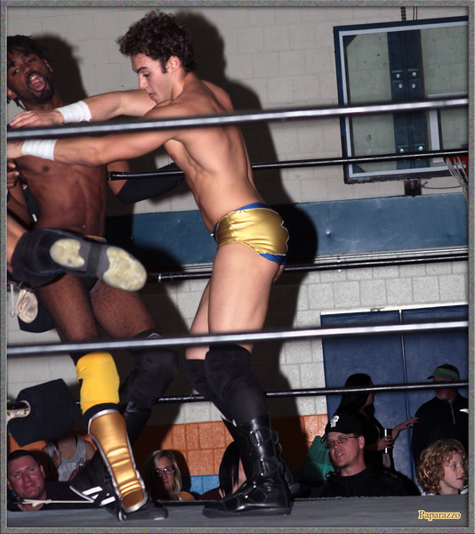 """Ricky Archer vs. Xavier Faraday of Oreo Speedwagon during the UFO Wrestling """"Monsters Ball"""" show held on October 25, 2019 at the Tynan Community Center in South Boston, Massachusetts."""