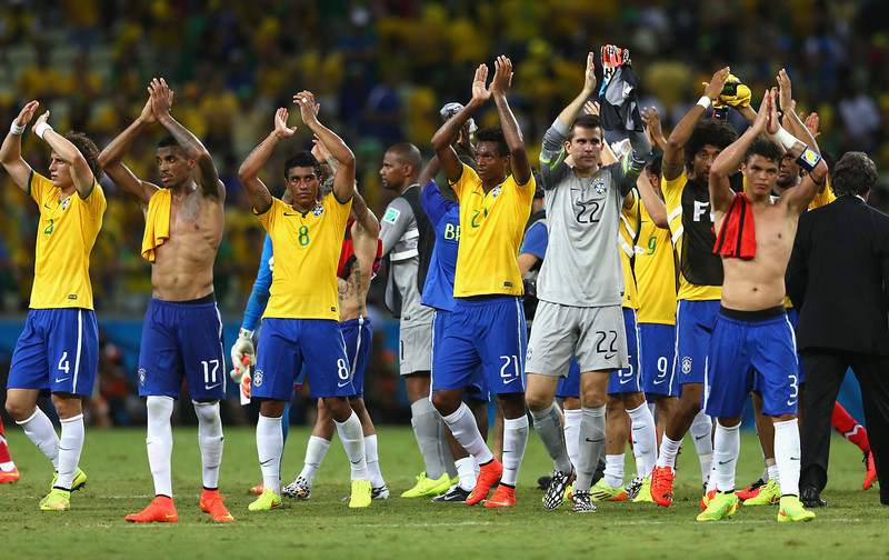 . Brazil players acknowledge the fans after a  0-0 draw in the 2014 FIFA World Cup Brazil Group A match between Brazil and Mexico at Castelao on June 17, 2014 in Fortaleza, Brazil.  (Photo by Michael Steele/Getty Images)