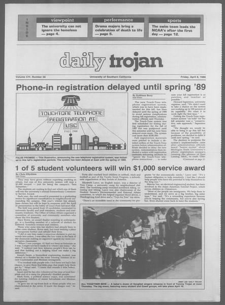 Daily Trojan, Vol. 106, No. 56, April 08, 1988