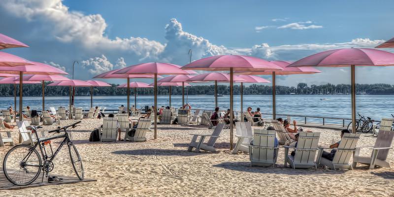 """Chilaxing""  Sugar Beach, one of Toronto's urban beaches"