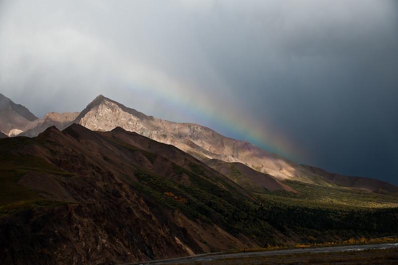 A rainbow suddenly appears.