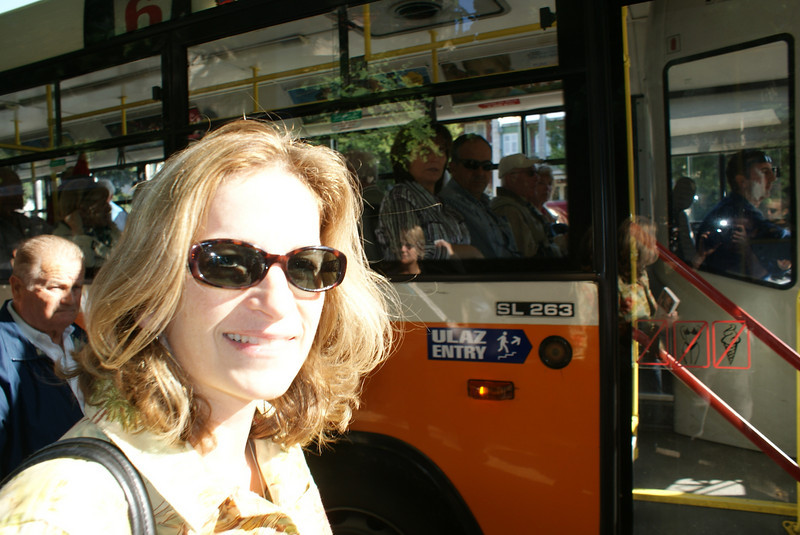 Hopping on the bus for downtown Dubrovnik.