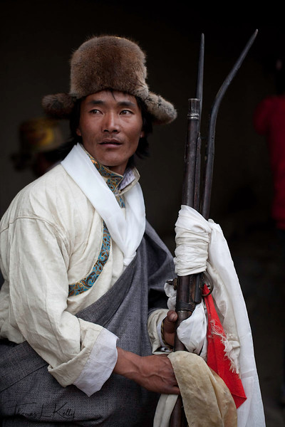Mustangi with is musket. Lo Manthang, Mustang, Nepal.