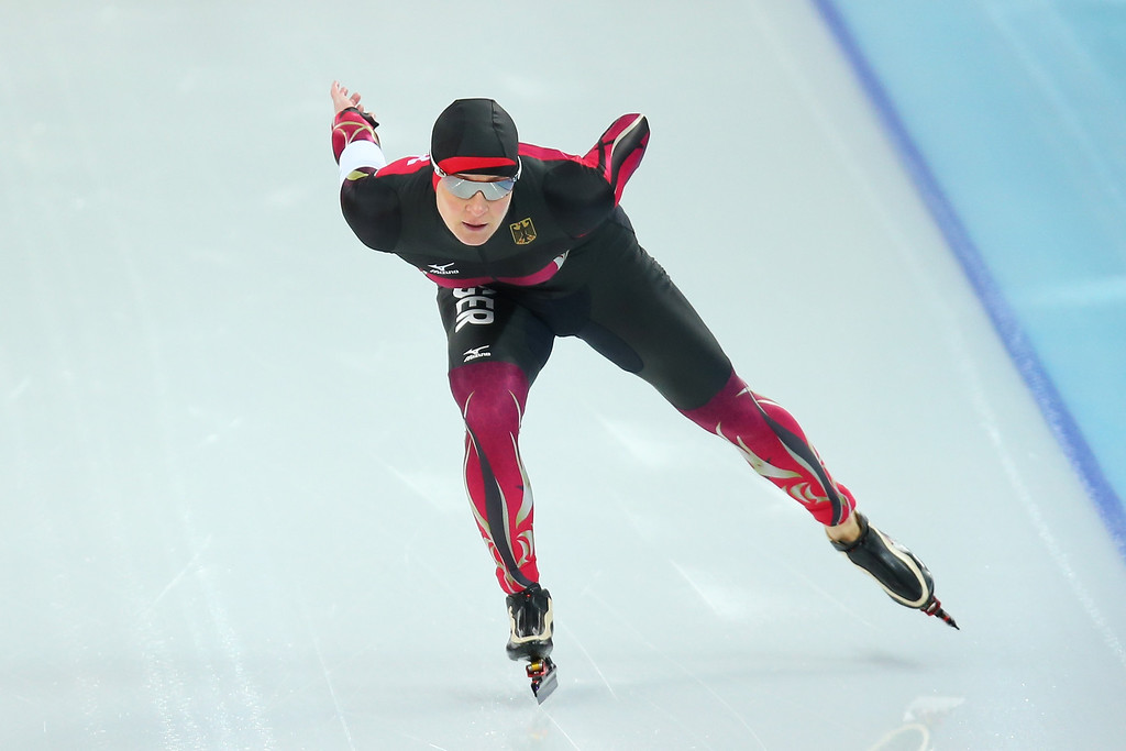 . Claudia Pechstein of Germany competes during the Women\'s 1500m Speed Skating event on day 9 of the Sochi 2014 Winter Olympics at Adler Arena Skating Center on February 16, 2014 in Sochi, Russia.  (Photo by Quinn Rooney/Getty Images)