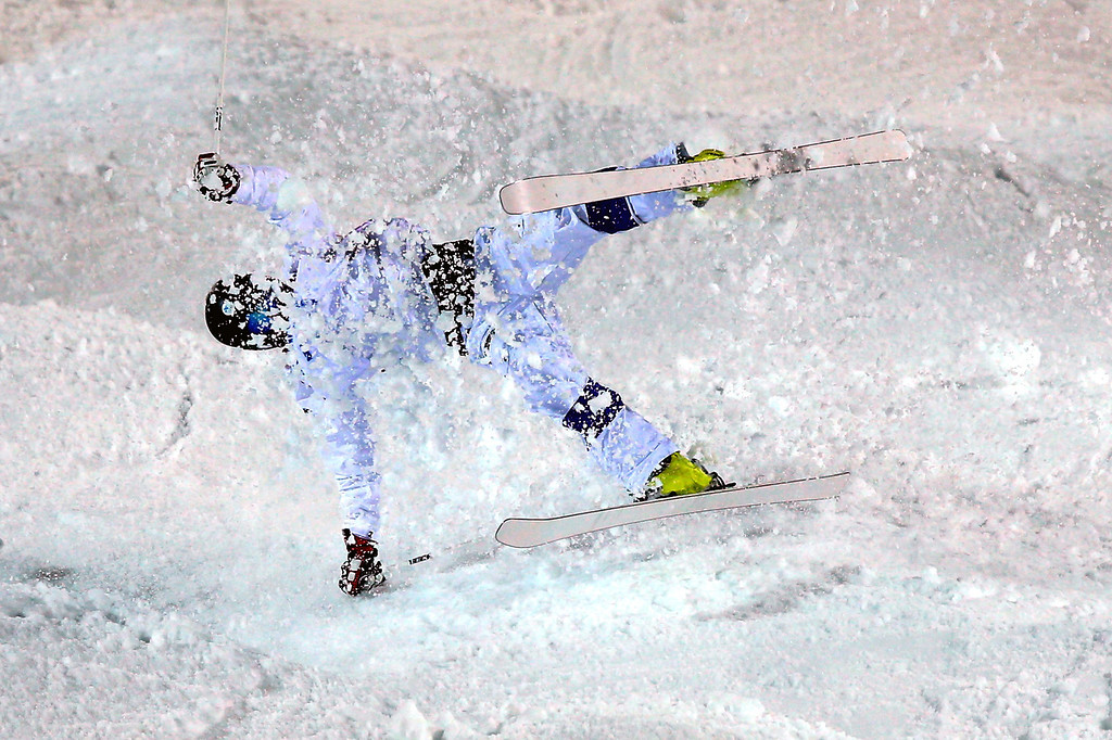. Jussi Penttala of Finland crashes during  the Freestyle Skiing Men\'s Moguls Qualification at the Sochi 2014 Olympic Games, Krasnaya Polyana, Russia, 10 February 2014.  EPA/JENS BUETTNER