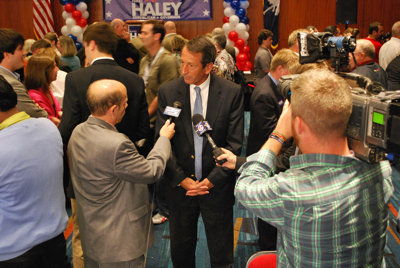 Press coverage of Gov. Mark Sanford's appearance at then Rep. Nikki Haley's election night festivities.