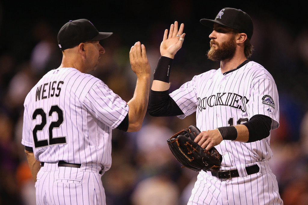 . DENVER, CO - MAY 02:  Manager manager Walt Weiss #22 and Charlie Blackmon #19 of the Colorado Rockies celebrtate their 10-3 victory over the New York Mets at Coors Field on May 2, 2014 in Denver, Colorado.  (Photo by Doug Pensinger/Getty Images)