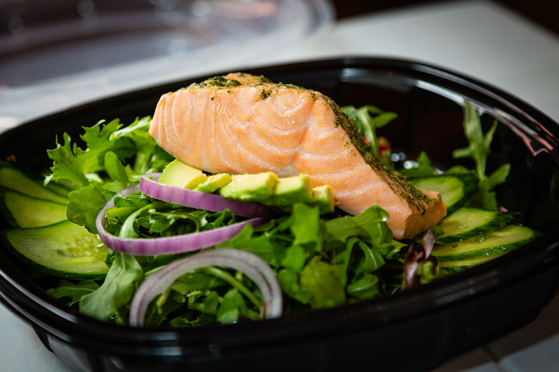 Poached salmon mostarda salad, with roasted peppers, cucumbers, red onion and basil, served at Patria Cafe, located at 319 Clematis St., Suite 101, West Palm Beach, FL on Thursday, February 20, 2020. [JOSEPH FORZANO/palmbeachpost.com]