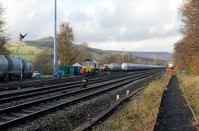 Freightliner 66s shunting in Earls Sidings, Hope Valley.