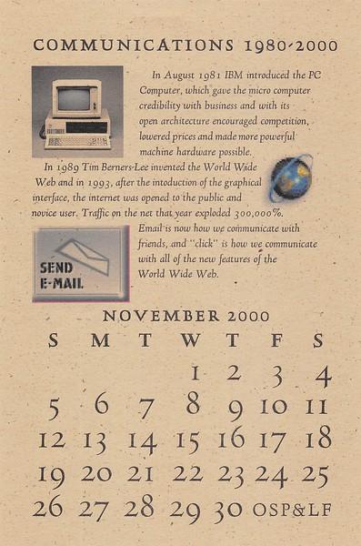 November, 2000, Out of Sorts Pres