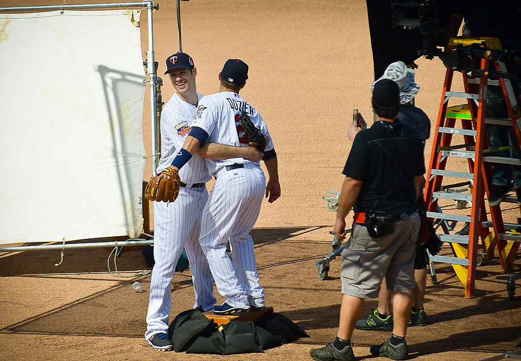 . Minnesota Twins Joe Mauer and second baseman Brian Dozier film a commercial for the Twins at Hammond Stadium. (Pioneer Press: Ben Garvin)