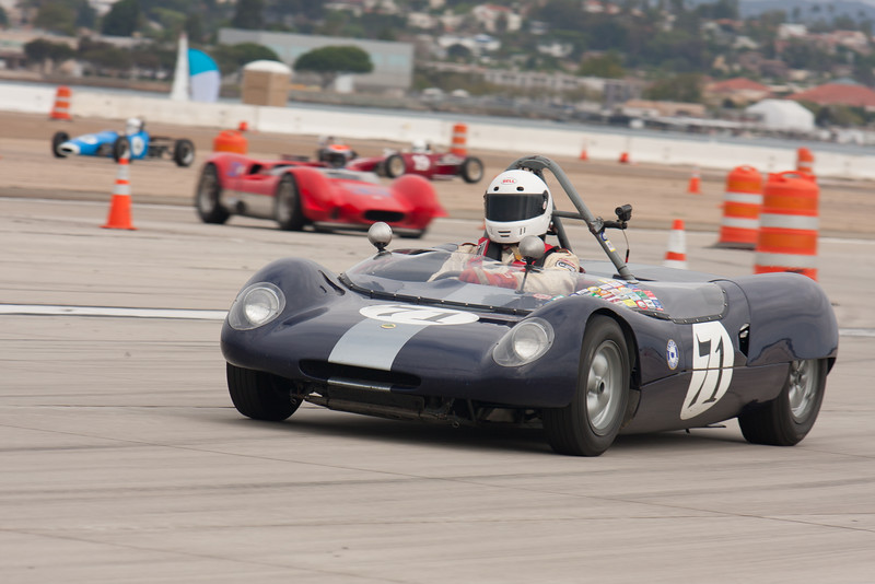 Donald Stark exits turn 9 in his 1964 Lotus 23B. © 2014 Victor Varela