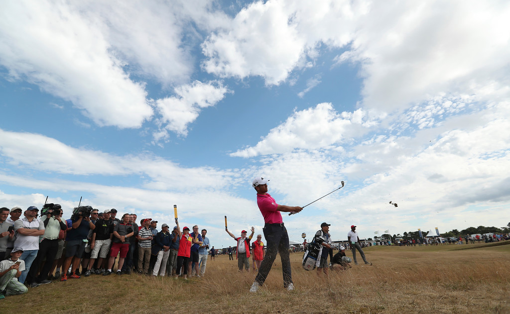 . Xander Schauffele of the US plays out of the rough on the 6th hole during the final round of the British Open Golf Championship in Carnoustie, Scotland, Sunday July 22, 2018. (AP Photo/Jon Super)