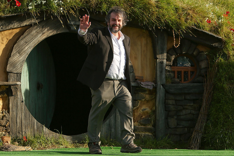 ". Director Sir Peter Jackson emerges from from a Hobbit house before delivering a speech at the ""The Hobbit: An Unexpected Journey\"" World Premiere at Embassy Theatre on November 28, 2012 in Wellington, New Zealand.  (Photo by Hagen Hopkins/Getty Images)"