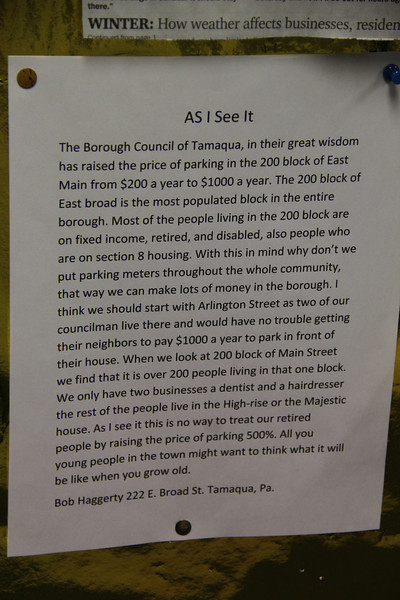 Sign from Resident Complaining About Parking Meter Rates, ABC Hi-Rise, Tamaqua (1-28-2014)