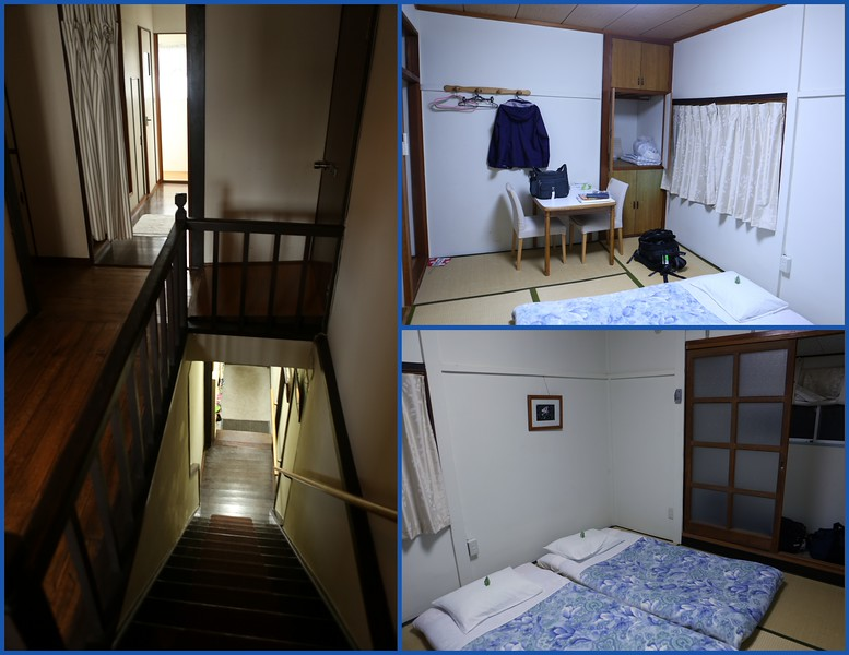 Peace Garden Villa stairway and upstairs hall (to the left) and two views of Sun View (right).