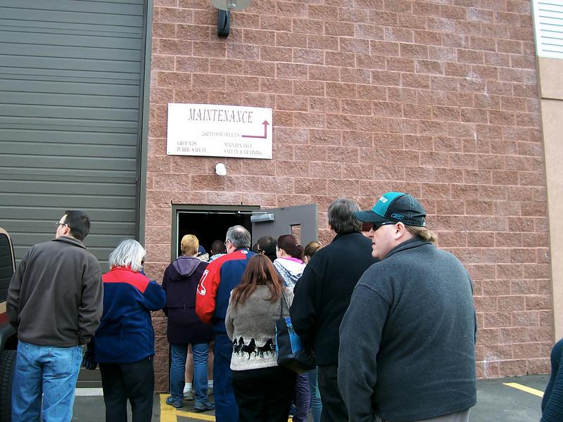 Entering the maintenance building.