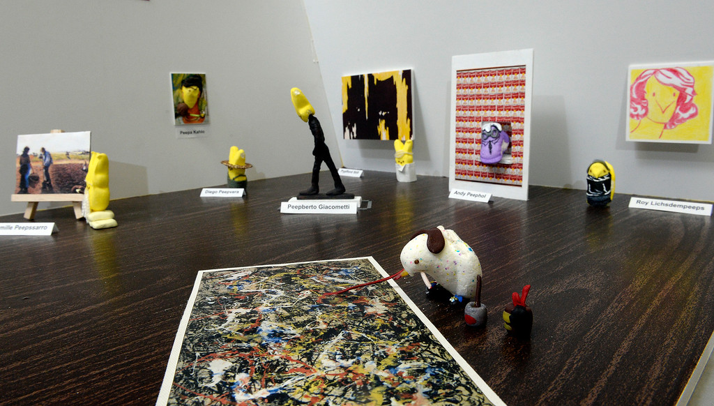""". 1st place adult winner: Members of the Denver Art Museum\'s conservation department teamed up to create \""""Modern Peepsters\"""" a Peeps diorama. It is a play on the current \""""Modern Masters\"""" exhibit at the museum  on Wednesday, April 9, 2014. In the foreground is \""""Peepson Pollock.\"""" (Denver Post Photo by Cyrus McCrimmon)"""
