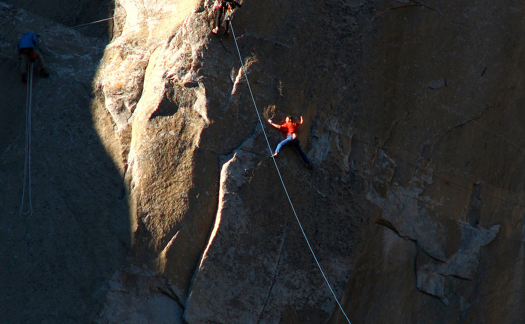 . In this Jan. 3, 2015 photo provided by Tom Evans, Tommy Caldwell works what is known as pitch 15 as he and Kevin Jorgeson, not shown, attempt what has been called the hardest rock climb in the world: a free climb of a El Capitan, the largest monolith of granite in the world, a half-mile section of exposed granite in California\'s Yosemite National Park. (AP Photo/Tom Evans, elcapreport)