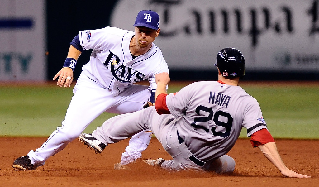 . Daniel Nava #29 of the Boston Red Sox is thrown out at second base as Ben Zobrist #18 of the Tampa Bay Rays makes the catch in the eighth inning during Game Four of the American League Division Series at Tropicana Field on October 8, 2013 in St Petersburg, Florida.  (Photo by Brian Blanco/Getty Images)