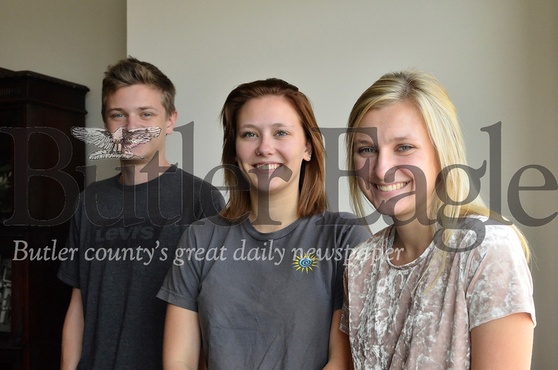 From left, Christopher, Kristin and Kelli Patrick are all recent enlistees in the U.S. Army. The siblings all enlisted within about a month of each other. Tanner Cole/Butler Eagle