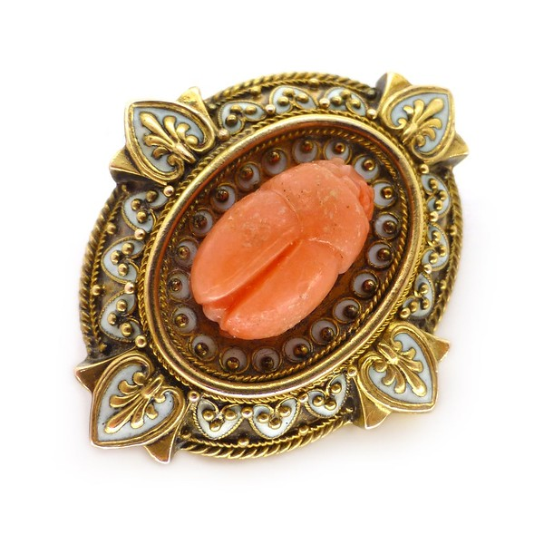 ANTIQUE VICTORIAN GOLD CORAL SCARAB ENAMEL BROOCH