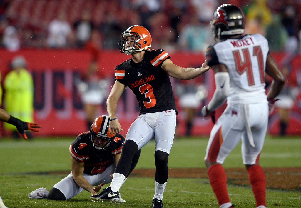 . Cleveland Browns kicker Cody Parkey (3) follows through against the Tampa Bay Buccaneers during the fourth quarter of an NFL preseason football game Saturday, Aug. 26, 2017, in Tampa, Fla. (AP Photo/Jason Behnken)