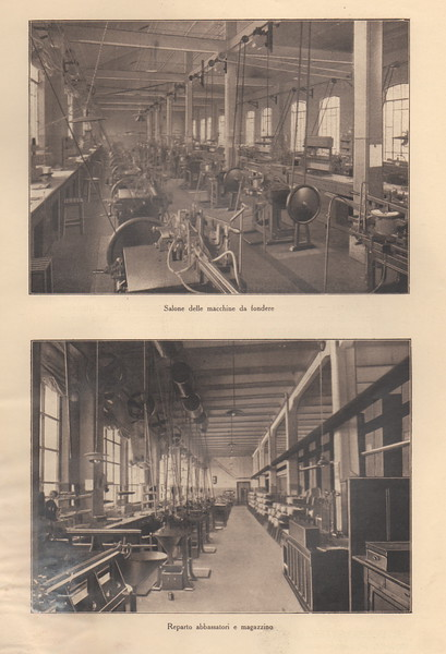 Two rare images show Fondografica's large foundry department and warehouse. Fondografica had branches in Rome, Florence, Milan and Naple. 1920s.