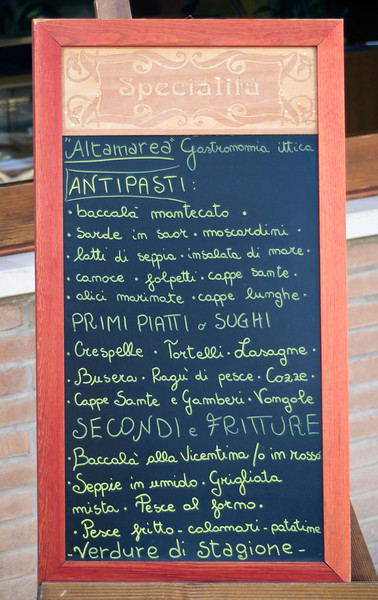 Blackboard Menu, Italian Food Restaurant