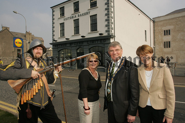 Pictured at the oficial opening of Bagenal's castle are William Corbett, Mayor Michael Carr along with Jenny O'Hagan and Madeline Burns the Daughters of Myles McCann the Managing Director of McCann's Bakery. 07W13N26