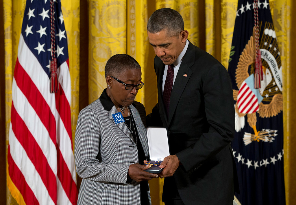 . President Barack Obama presents Constance Wilson, grandmother of fallen Philadelphia Police Department Sgt .Robert Wilson III with his Medal of Valor during a ceremony in the East Room of the White House in Washington, Monday, May 16, 2016. The Medal of Valor is awarded to public safety officers who have exhibited exceptional courage, regardless of personal safety, in the attempt to save or protect others from harm. (AP Photo/Carolyn Kaster)