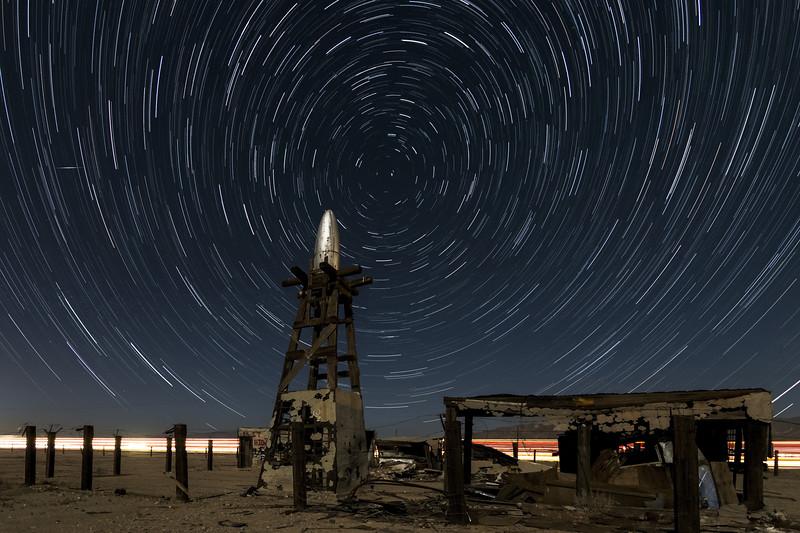 Star Trails At The Salton Sea Alien Portal