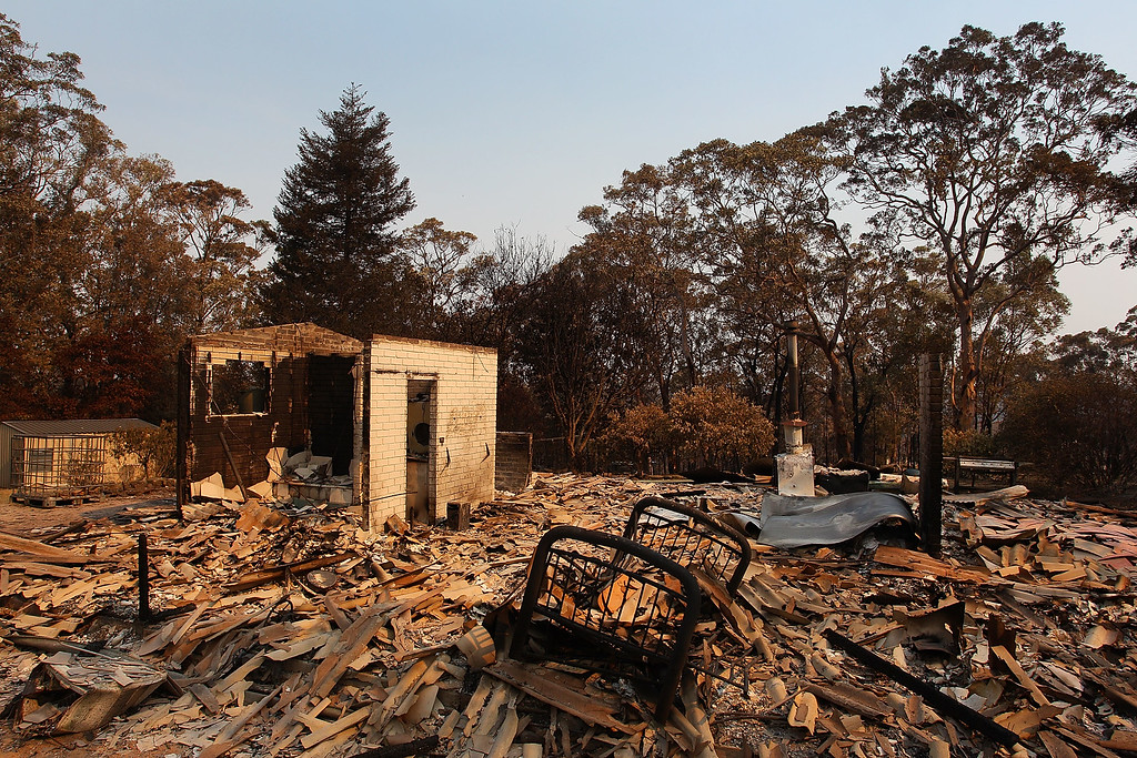 . A home destroyed by bushfire as seen on October 21, 2013 in Yellow Rock, Australia.   (Photo by Lisa Maree Williams/Getty Images)