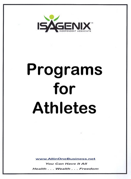 Programs for Athletes - World Class Athletes globally are using Isagenix to obtain their Competitive Advantage by using the very best Nutritionally balanced product systems.