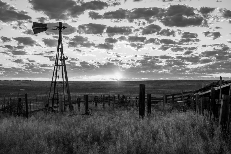 Agate, CO Abandoned Farm Sunrise b/w