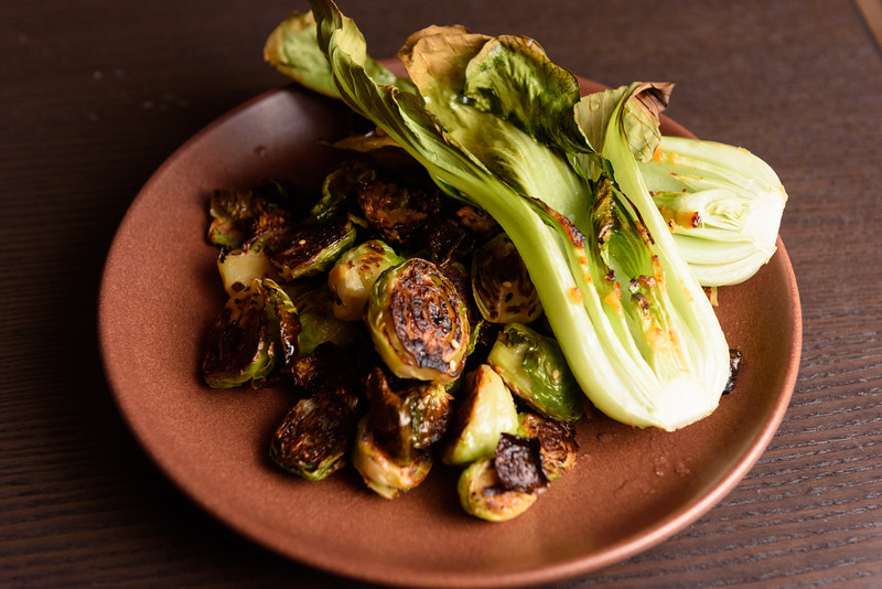 roast bok choy and brussels