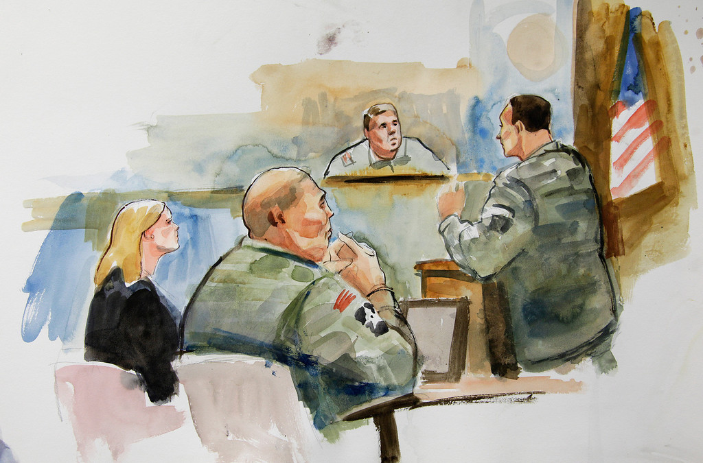 . FILE - In this Tuesday, Nov. 13, 2012 courtroom sketch, U.S. Army Staff Sgt. Robert Bales, second from left, sits next to Emma Scanlan, left, his civilian attorney, as they listen to military prosecutor Maj. Rob Stelle, right, make his closing statements to Investigating Officer Col. Lee Deneke, second from upper right, on the final day of a preliminary hearing for Bales at Joint Base Lewis McChord in Washington state. Bales is accused of 16 counts of premeditated murder and six counts of attempted murder for a pre-dawn attack on two villages in Kandahar Province in Afghanistan on March 11, 2012. Bales has not entered a plea, but his lawyers have not disputed his involvement in the killings. The Army is seeking the death penalty. (AP Photo/Lois Silver)
