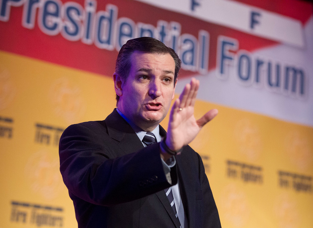 . Sen. Ted Cruz, R-Texas, speaks at the International Association of Firefighters (IAFF) Legislative Conference and Presidential Forum in Washington, Tuesday, March 10, 2015. (AP Photo/Pablo Martinez Monsivais)