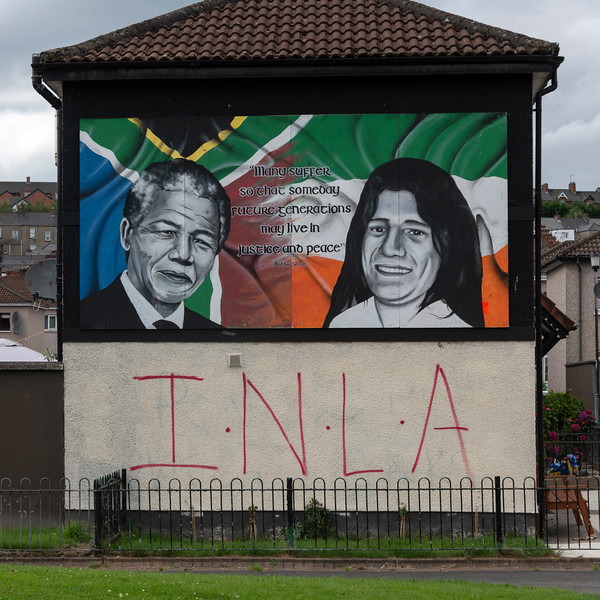 Painting protesting policies by the British, Free Derry, Londonderry, Northern Ireland, United Kingdom
