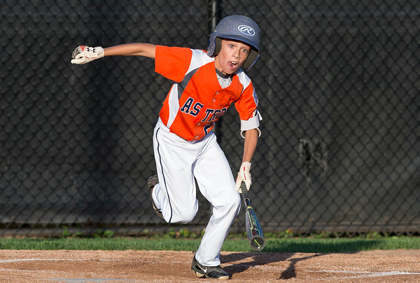 08/26/19 Wesley Bunnell | Staff The McCabe-Waters Astros defeated the Forrestville Dodgers 3-0 at Breen Field on Monday night in the city series to force a winner takes all on Wednesday. Landon Levesque (9) with a bunt.