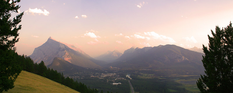 View of the mountains and the Banff townsite from Norquay.  It was kind of a hazy afternoon.