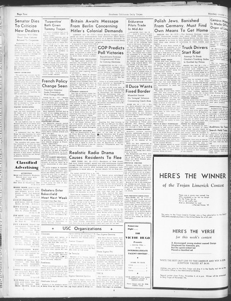 Daily Trojan, Vol. 30, No. 31, October 31, 1938
