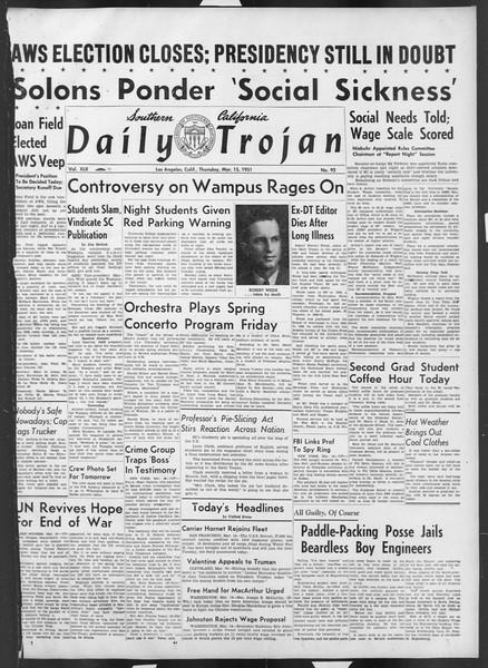 Daily Trojan, Vol. 42, No. 92, March 15, 1951