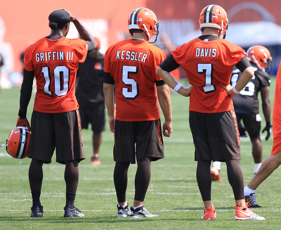 . News-Herald file Browns quarterbacks Robert Griffin III, Cody Kessler and Austin Davis watch as Josh McCown works with the offense at the Browns training camp on July 29 in Berea.