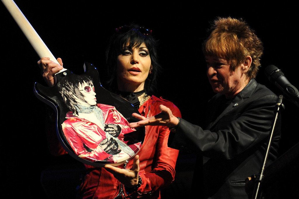 . Joan Jett is presented with a custom guitar by Rodney Bingenheimer at the House of Blues as part of the Sunset Strip Music Festival, Thursday, August 1, 2013. (Michael Owen Baker/L.A. Daily News)