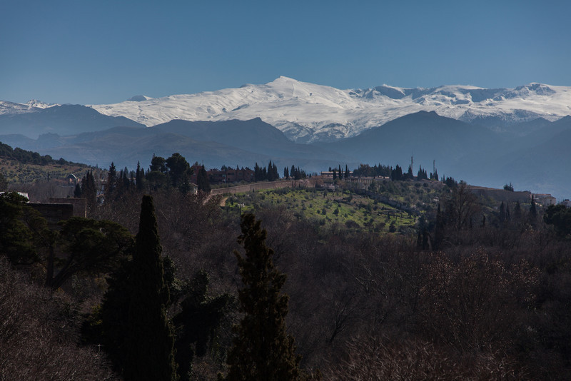 A view of the Spanish Sierra Nevada mountains from the Alhambra.