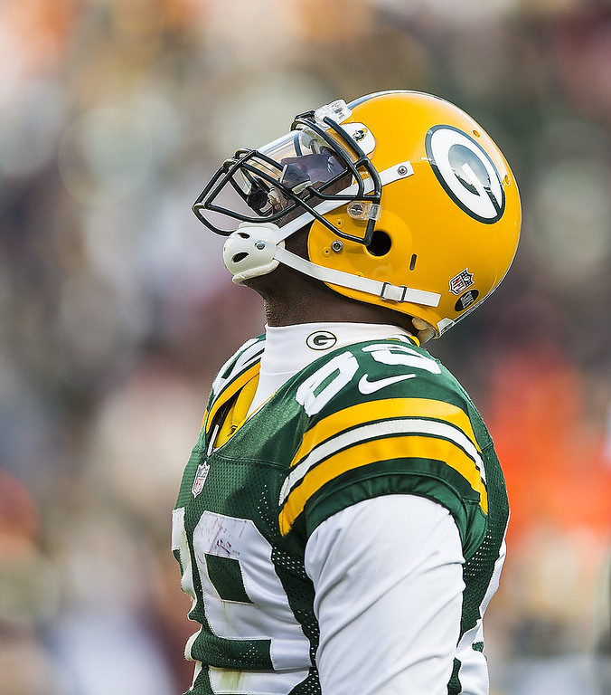 . James Jones #89 of the Green Bay Packers a touchdown against the Tennessee Titans at Lambeau Field on December 23, 2012 in Green Bay, Wisconsin.  (Photo by Tom Lynn /Getty Images)