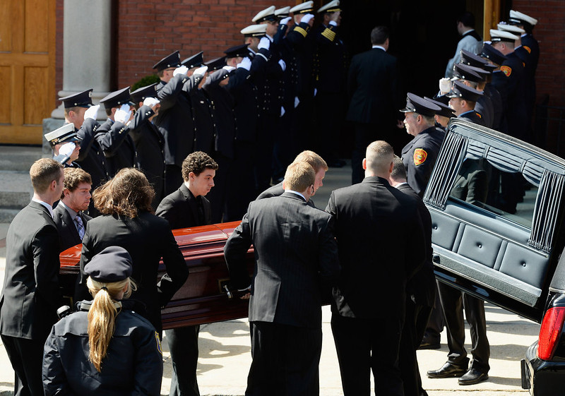 . Pallbearers carry the casket of Krystle Campbell, a victim of the Boston Marathon bombing, to St. Joseph Catholic Church for her funeral on April 22, 2013 in Medford, Massachusetts. A manhunt ended for Dzhokhar A. Tsarnaev, 19, a suspect in the Boston Marathon bombing after he was apprehended on a boat parked on a residential property in Watertown, Massachusetts. His brother Tamerlan Tsarnaev, 26, the other suspect, was shot and killed after a car chase and shootout with police. The bombing, on April 15 at the finish line of the marathon, killed three people and wounded at least 170.  (Photo by Kevork Djansezian/Getty Images)